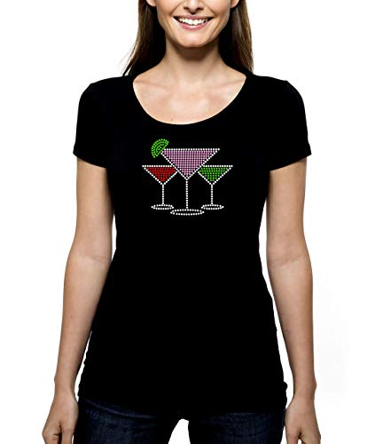 Three Martinis RHINESTONE t-shirt tank top - S M L XL 2XL - Bling Cocktail Drinking Drinks olive brine shaken stirred up rocks lime twist - Pick Shirt Style - Scoop Neck V-Neck Crew Neck