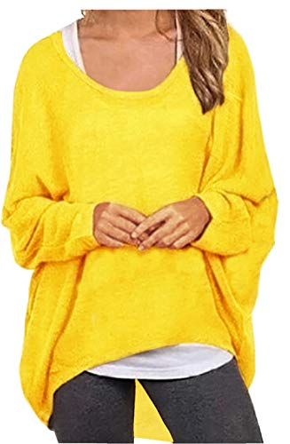 UGET Women's Sweater Casual Oversized Baggy Off-Shoulder Shirts Batwing Sleeve Pullover Shirts Tops Asia S Bright Yellow]()