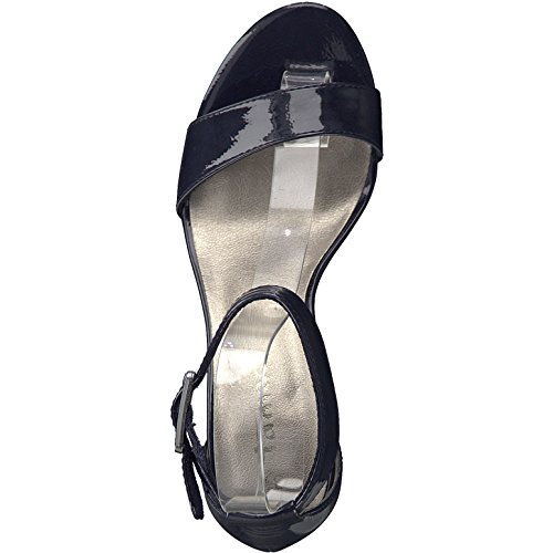 28018 Women''s Tamaris Patent Navy Ankle Strap Sandals g5wnd4wq