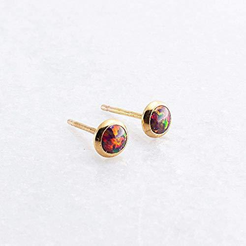 Gold Filled Brown-Red Opal Stone Stud Earrings, GF-4MM-Brown/Red Opal