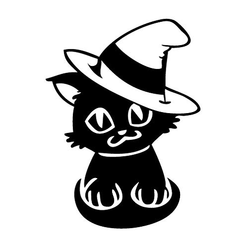 (leononlinebox Cat Halloween Costume - Cartoon Decal [12cm Black] Vinyl Sticker for Car, Bike, iPad, Laptop, MacBook,)