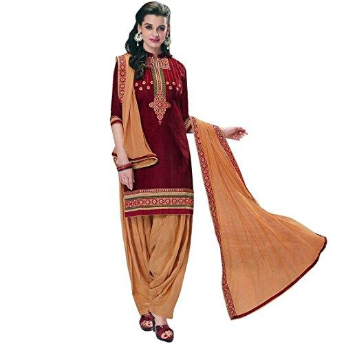 Ladyline Designer Patiala Salwar-Embroidered Dupatta-Cotton Salwar Kameez