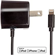 Apple Certified iPhone Lightning Charger - Wall Plug - For iPhone X 8 Plus 8 7 Plus 7 6S Plus 6 Plus 6 6S 5S 5 5C SE - Fold Away Pins - 2.1a Rapid Power - Take For Travel - Black