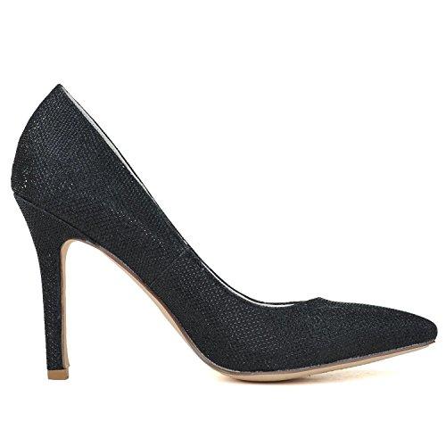 De Seda Para L Y Negro Black Zapatos Acentuada Gran Mujer Amarillo 15 Boda Tamaño Stilettos yc 0608 Brillantes gxq1FwREq