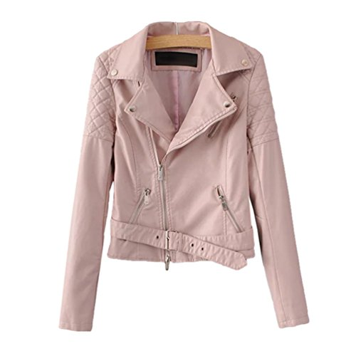 Outwear Coat Faux Lapel Autumn Pink Motorcycle Zip Baymate Turn Collar Jacket Women Casual Short Leather Down FwxqO6