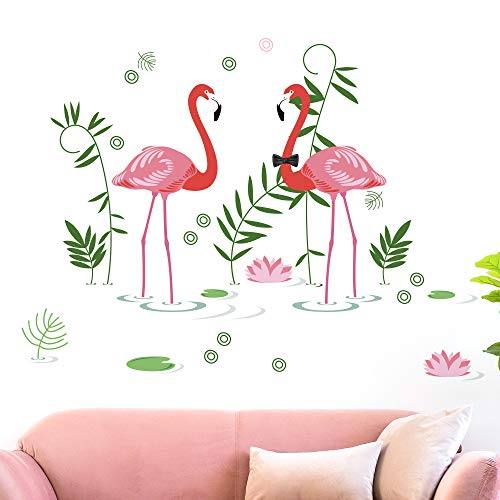 DKTIE Flamingos Wall Sticker Decals Art Removable Stickers Peel and Stick Wall Decals for Living Room Bedroom,Adults Wall Stickers Quotes