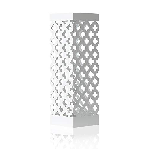 NEX Umbrella Stand Rack Free Standing Metal Umbrella Holder for Home Office Entryway Decoration with Drip Tray and Hook, White