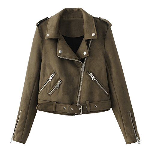 Outwear Fabric Suede Courte Cool Demiawaking Slim caf Outwear Femmes Manteau Casual Tops Blouson Veste Printemps fwFqOBA