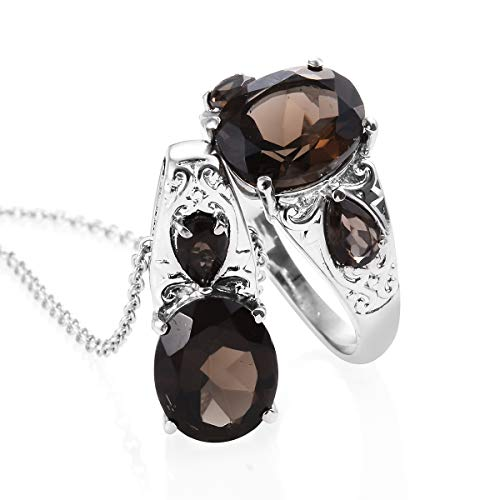 Shop LC Delivering Joy Stainless Steel Smoky Quartz Ring Size 7 and Chain Pendant Necklace for Women 20