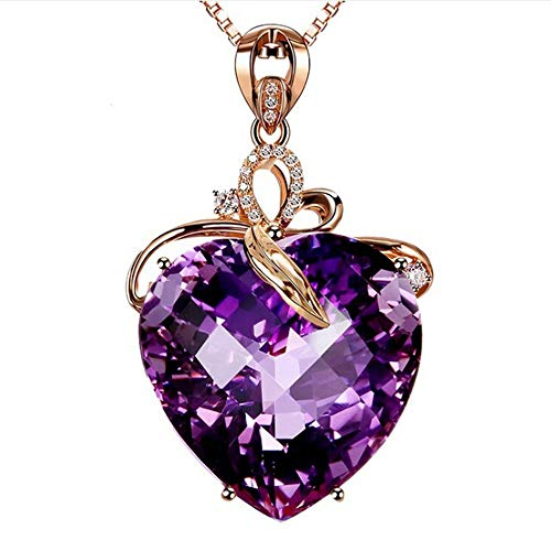 Maogege Valentine's Day Girlfriend Heart-Shaped Amethyst Pendant Lady Fashion Necklace