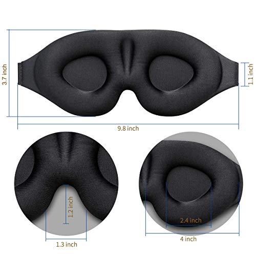 ZGGCD 3D Sleep Mask, New Arrival Sleeping Eye Mask for Women Men, Contoured Cup Night Blindfold, Luxury Light Blocking Eye Cover, Molded Eye Shade with Adjustable Strap for Travel, Nap, Yoga, Black