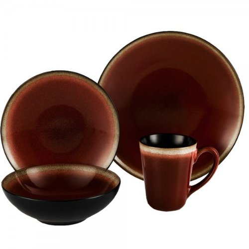 ColorUs China 112017 Kabah Round Coupe Stoneware 16-Piece Dinnerware Set, Burgundy, Service for -