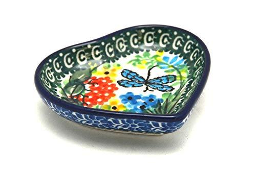 Polish Pottery Tea Bag Holder - Heart - Unikat Signature - U4612