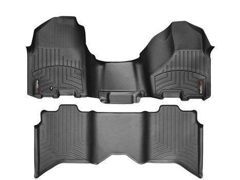 2012-2016 Dodge Ram Truck-Weathertech Floor Liners-Full Set (Includes 1st and 2nd Row-Over The Hump)-Over the Hump Front -Fits Quad Cab Only-Black