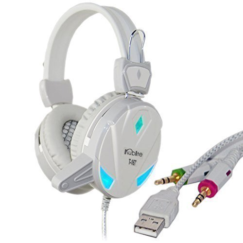 Wired USB 3.5mm Gaming Headphone Stereo Surround Super Bass Over Ear Headband Game Headset Earphone With Mic LED Light Volume Control for Mobile PC Computer Game Notebook Laptop Mac (Retractable Motorola Mini Usb)