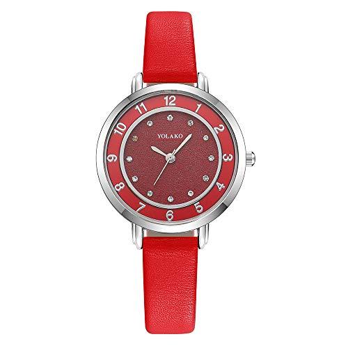 Fashion Ladies Watch Wrist Watches,YOLAKO Women's Casual Quartz Leather Band Newv Strap Watch Analog Wrist Watch,Smartwatches (C)