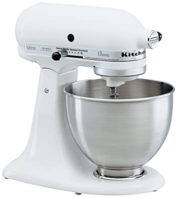 KitchenAid KSM100PSWW Ultra Power Plus 4-1/2-Quart Stand Mixer with Pouring Shield, White by KitchenAid
