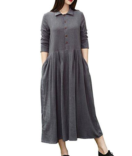 YUHEYUHE Womens Casual Loose Spring Fall Clothing Long Sleeves Midi Cotton Linen Shirt Dresses