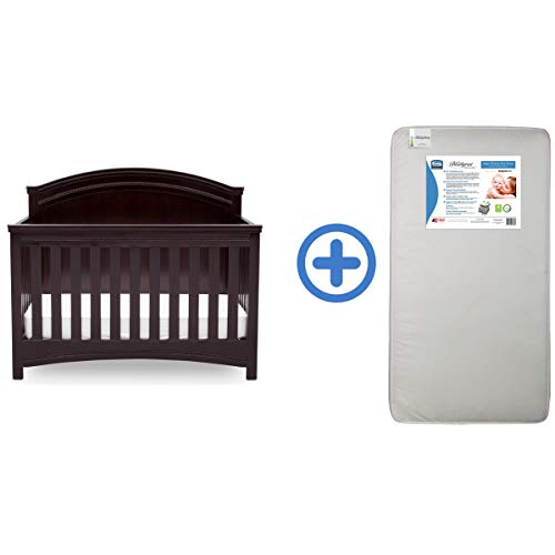 Simmons Kids SlumberTime Emma Convertible Baby Crib N More & Ultra Deluxe 2-in-1 Innerspring Crib and Toddler Mattress, Black Espresso