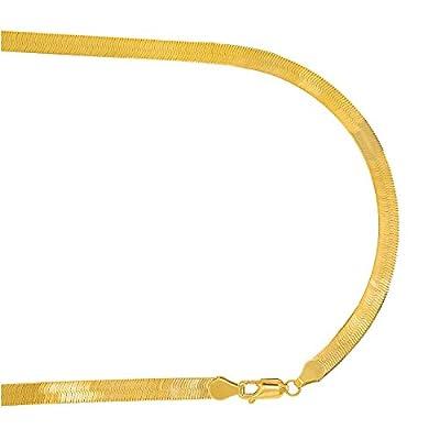 JewelStop 14k Solid Yellow Gold 5mm Super Flexible Silky Imperial Herringbone Bracelet, Lobster Claw-7 8 from JewelStop