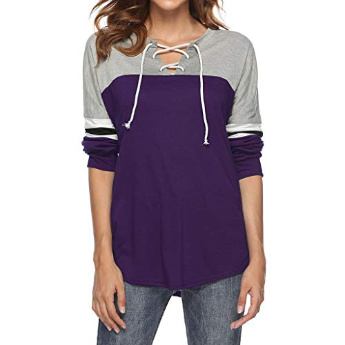 Misaky Women's 2018 Autumn Lace-Up Shirt Hollow Out Tie Front V-Neck Long Sleeve Blouse Tops T-Shirt (Medium, S_Purple) -