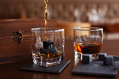 Whiskey Stones Gift Set by Royal Reserve   Husband Birthday Gifts Artisan Crafted Chilling Rocks Scotch Bourbon Glasses and Slate Table Coasters – Gift for Men Dad Boyfriend Anniversary or Retirement by Royal Reserve (Image #4)