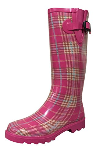 Rain PSW Boots Plaid Womens Pink Rubber MSTKH Trqwt1r