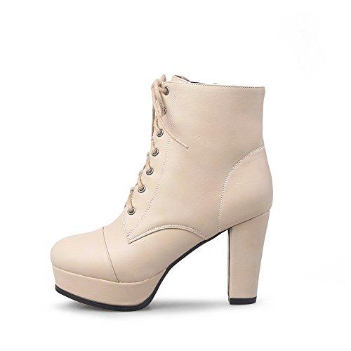 AllhqFashion Womens Round Closed Toe Low Top High Heels Solid Pu Boots Apricot PQ4fL