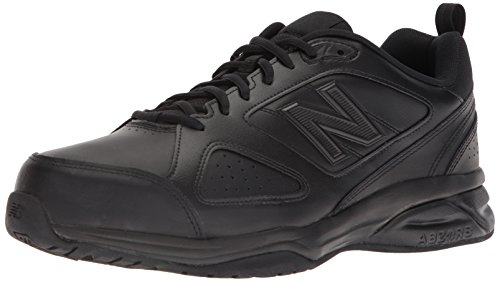 New Balance Men's MX623v3 Casual Comfort Training Shoe,  Black Leather, 10 XW US