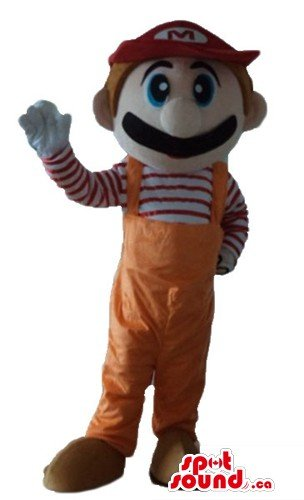 Super Mario cartoon character SpotSound Mascot US costume fancy dress (Super Mario Mascot)