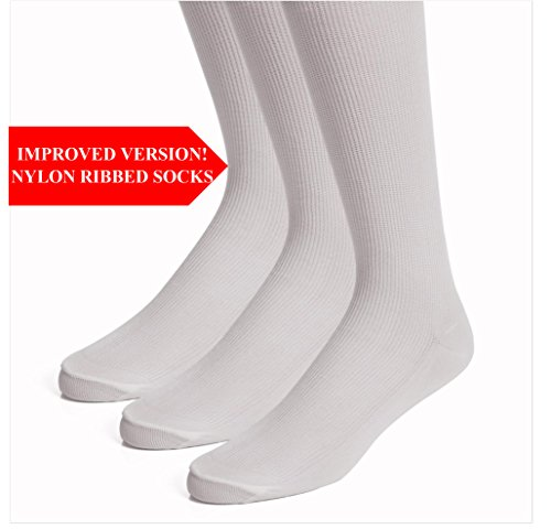 TopFit Men's Nylon Classic Dress Socks - Compression - Anti Fungal Knee Socks - 3 Pack and 6 Pack ()