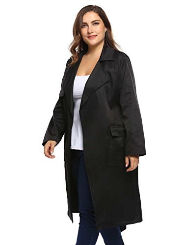 Zeagoo Women Plus Size Autumn Winter Long Trench Coat Jacket With Belt (1X-5X)