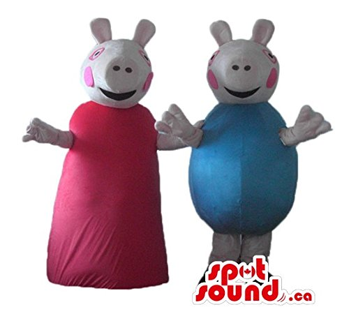 Peppa and George Pigs cartoon character SpotSound Mascot US (Peppa Pig Adult Costume)