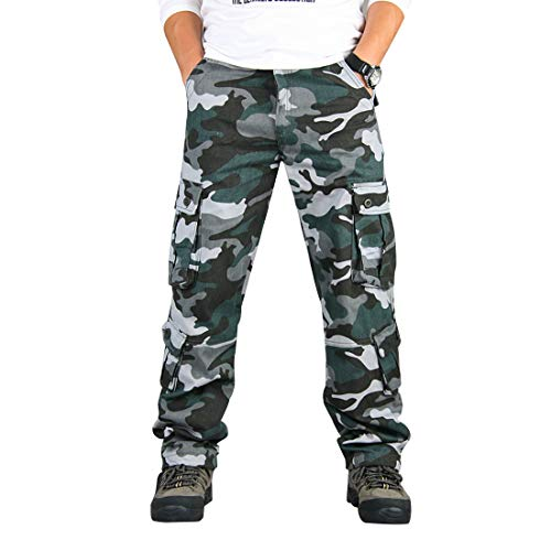 zeetoo Mens Relaxed-Fit Cargo Pants Multi Pocket Military Camo Combat Work Pants GZ03 Blue Camo