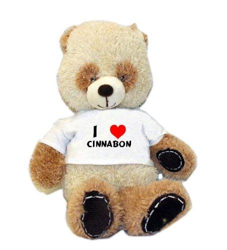 Plush Panda toy with I love Cinnabon t-shirt (first name/surname/nickname)