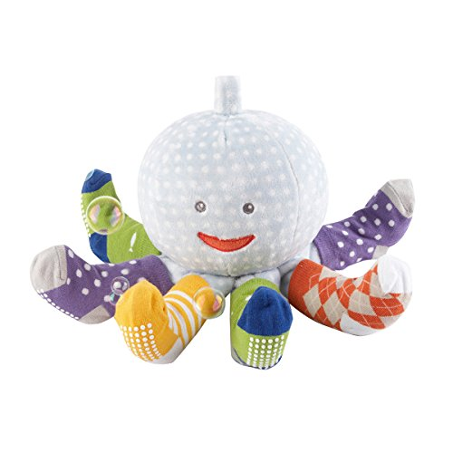 Baby Rattle Cakes - Baby Aspen, Mr. Sock T. Pus, Plush Octopus with 4 Pairs of Socks