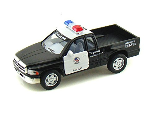 Amazon 5 dodge ram police pickup truck 144 scale black amazon 5 dodge ram police pickup truck 144 scale blackwhite by kinsmart toys games sciox Images