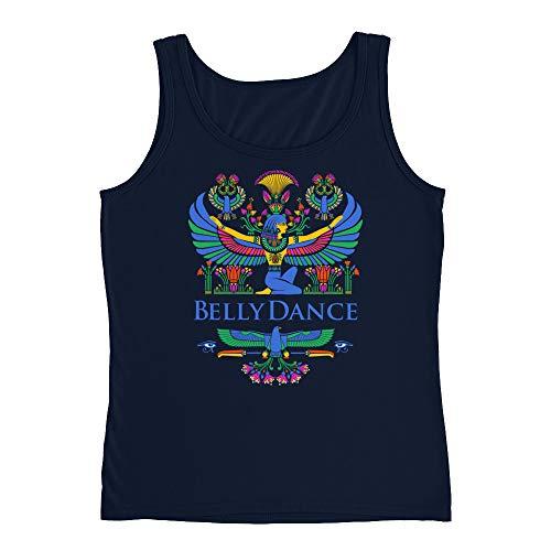 Belly Dance Goddess Ladies' Tank Top - Bellydance t-Shirt, Sleeveless, Goddess Isis, Egypt Motif Navy