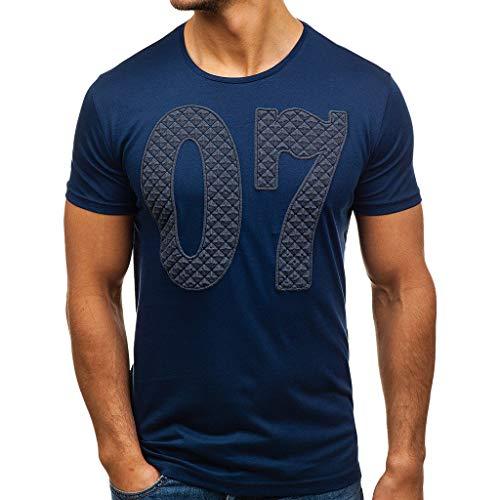 iHPH7 T-Shirt Mens Hipster Hip Hop Crewneck T-Shirt Fashion Men Casual Slim Digital Printed Short Sleeve T Shirt Top Blouse M Navy]()