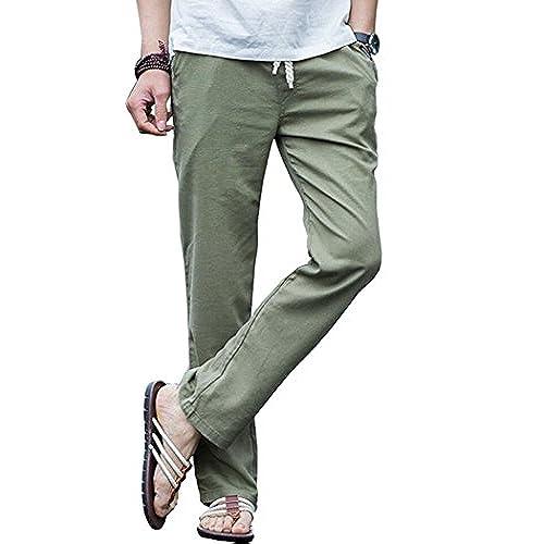 Mens Cotton Linen Lightweight Solid Casual Pants Green Asian 4XL