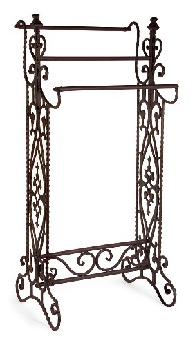 IMAX 7781 Narrow Quilt Rack – Three Bar Wrought Iron Stand, Floor Display Stand for Living Room, Bathroom, Compact Towel Rail. Home Decor Accessories (Rack Quilt Metal)