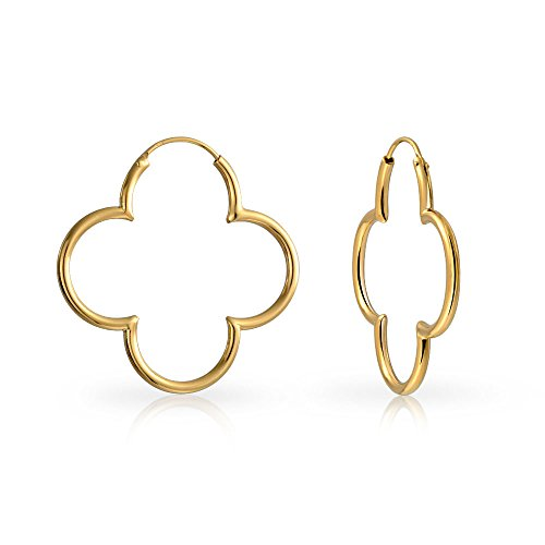 Clover Flower Shaped Thin Tube Endless Hoop Earrings For Women Polished 14K Gold Plated 925 Sterling Silver 1.5 In