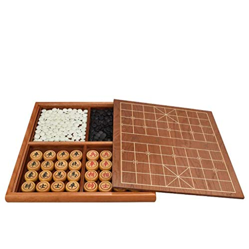 Deluxe Folding Chess Set - LIAN Go, Chinese Chess Set, Adult Beginner Solid Wood Double-Sided Household Storage Tray