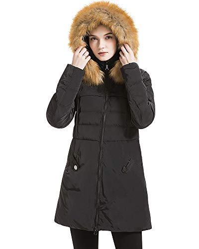 Beinia Valuker Women's Down Coat with Fur Hood 90D Parka Puffer Jacket 57-Black-L