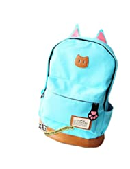 TESSLA Women's Cat Canvas Cute Rucksack Satchel Travel Bag Schoolbag Backpack