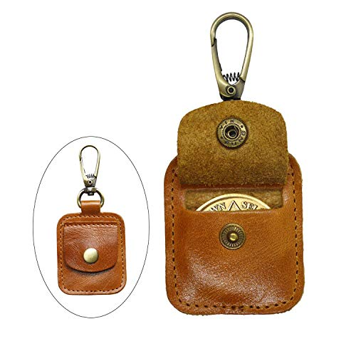 AA Medallion or Coin Holder, Leather Key Chain Snap Open Leather Case (Brown) ()