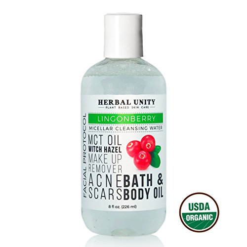 Micellar Cleansing Water - All Natural & Organic Lingonberry Extract - Deep Facial Cleanser Oil - 3-in-1 - Make up Remover & Brightening - Removes Dirt - No Rinse - Pore Purifying by Herbal Unity
