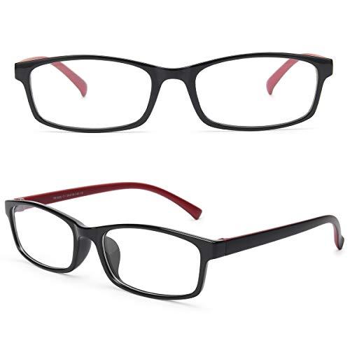Livho Blue Light Blocking Reading Glasses,Readers Eyeglasses Anti Glare Eyestrain Lightweight for Men Women (Red and Black, Large, 0.0)