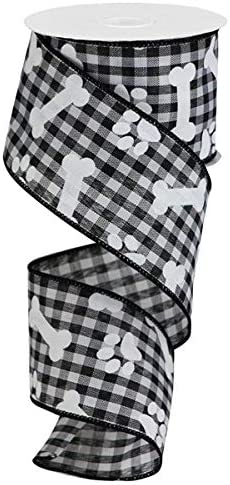 """2.5/"""" Red Black Gingham Check Wired Ribbon with White Bones /& Paw Prints by Yard"""