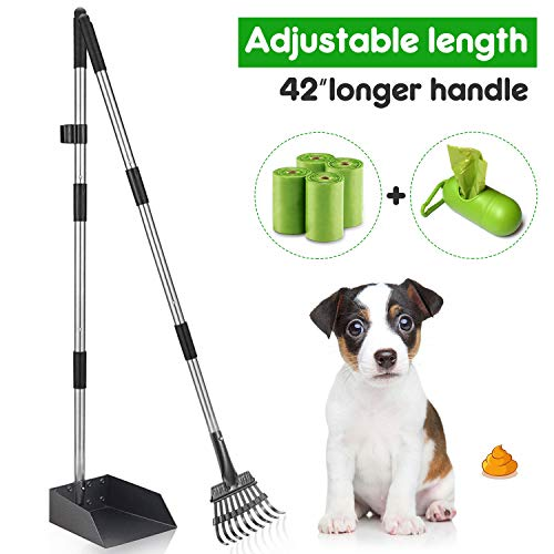 MIDOG Dog Pooper Scooper, Pet Poop Tray and Rake Set for Small Dogs - Long Adjustable Handle Bin with Rake for Dog